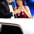 Couple in a limousine — Stock Photo