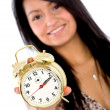Foto Stock: Alarm clock - girl