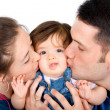 Family portrait kissing — Stock Photo