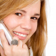 Beautiful blonde on a mobile phone — Stockfoto