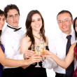 Friends celebrating with champagne — Stock Photo