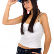 Beautiful female constructor — Stock Photo