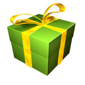 Christmas gift in red and yellow — Stock Photo