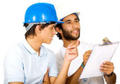 Couple of young architects — Stock Photo