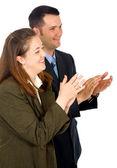 Obchodní partneři tleskají — Stock fotografie