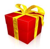 Cadeau de noël en rouge et jaune — Photo