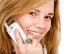 Beautiful blonde on a mobile phone — Stock Photo