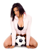Fashion girl with a soccer ball — Fotografia Stock