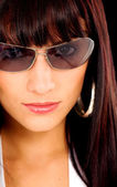 Fashion girl portrait with sunglasses — Stockfoto