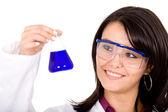 Female girl in a laboratory — Stock Photo