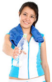 Girl offering water — Stock Photo