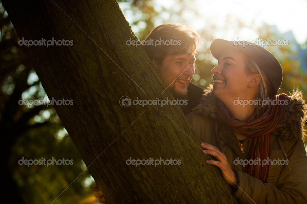 Portrait of a romantic couple having fun outdoors — Stock Photo #7564537