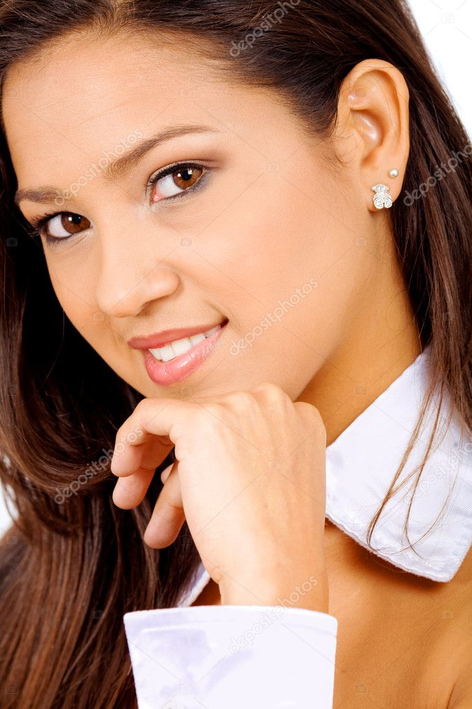 Elegant fashion girl portrait with her hand on her chin and doing a cute smile - over a white background — Stock Photo #7568381