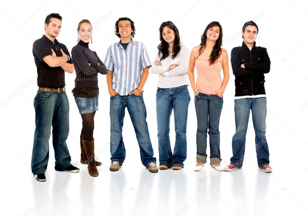 Group of casual happy friends smiling and standing isolated over a white background  Stock Photo #7568388