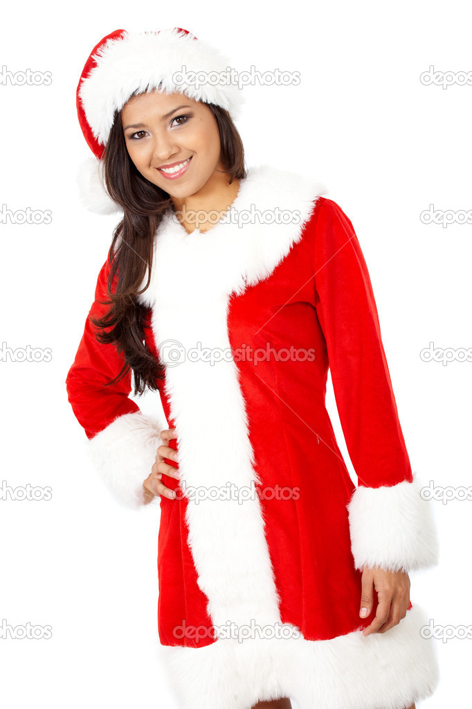 Female christmas santa smiling portrait - isolated over a white background  Stock Photo #7568445