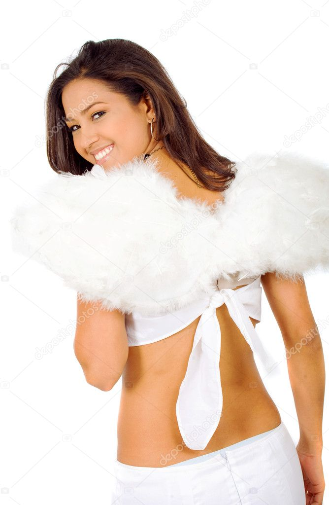 Beautiful angel with wings isolated over a white background  Stock Photo #7568569