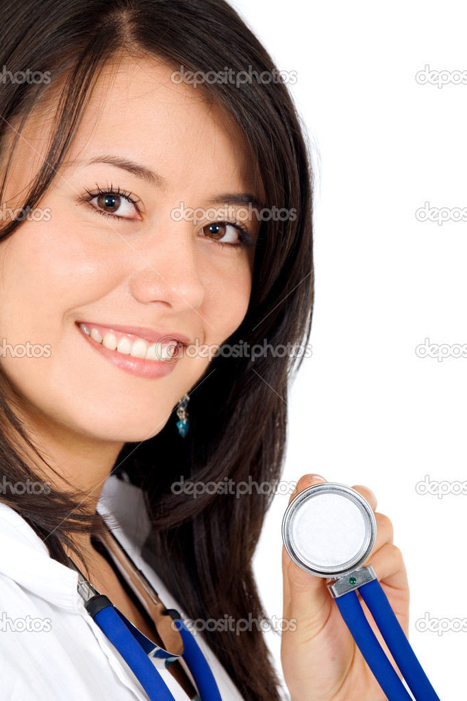Friendly female doctor isolated over a white background — Stock Photo #7568622