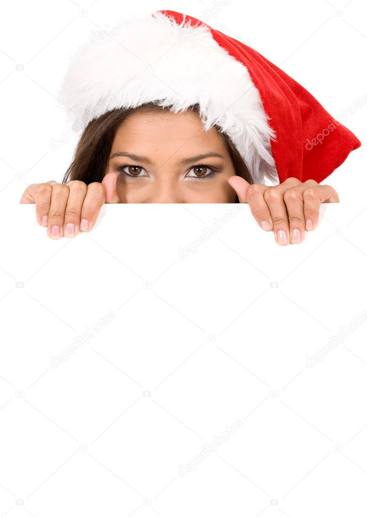 Female santa over a banner add or billboard isolated over a white background  Stock Photo #7568757