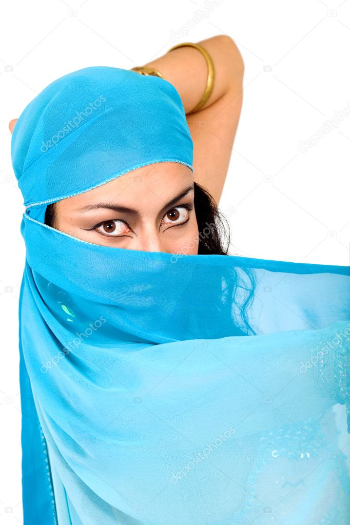 Beautiful arabic belly dancer isolated over a white background — Stock Photo #7568864