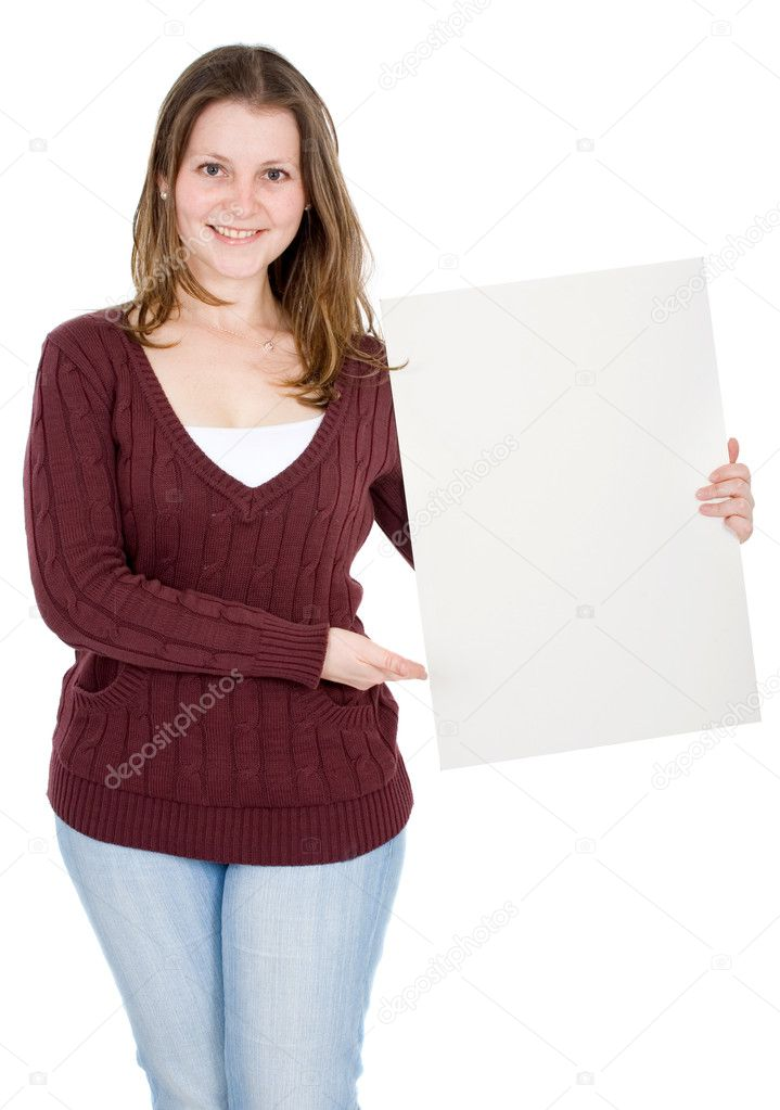 Casual girl holding a cardboard isolated over a white background  Stock Photo #7568876