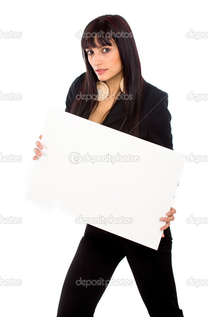 Business add girl holding a white cardboard isolated — Stock Photo #7568965