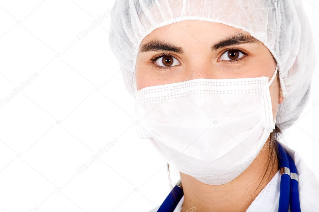 Beautiful female doctor portrait using mouth cover and a hat - isolated over a white background — Stock Photo #7569169