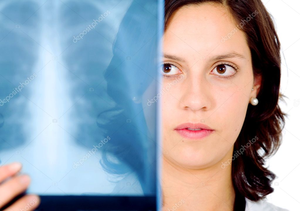 Female doctor checking an xray isolated over a white background — Stock Photo #7569170