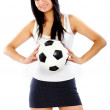 Fashion girl with a football — Stock Photo