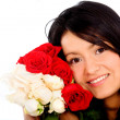 Girl with roses portrait - Stock Photo