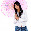 Casual girl with a pink umbrella — Stock Photo #7598569