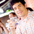 Guy at a cafee having a drink — Stock Photo #7598647