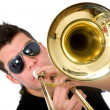 Guy playing a trumpet — Stock Photo