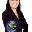 Customer service girl - globe — Stock Photo