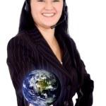 Customer service girl - globe — Stock Photo #7598668
