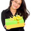 Business woman with a gift — Stock Photo #7598685