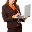 Successful woman on a laptop — Stock Photo