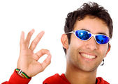 Cool guy doing the ok sign — Stock Photo