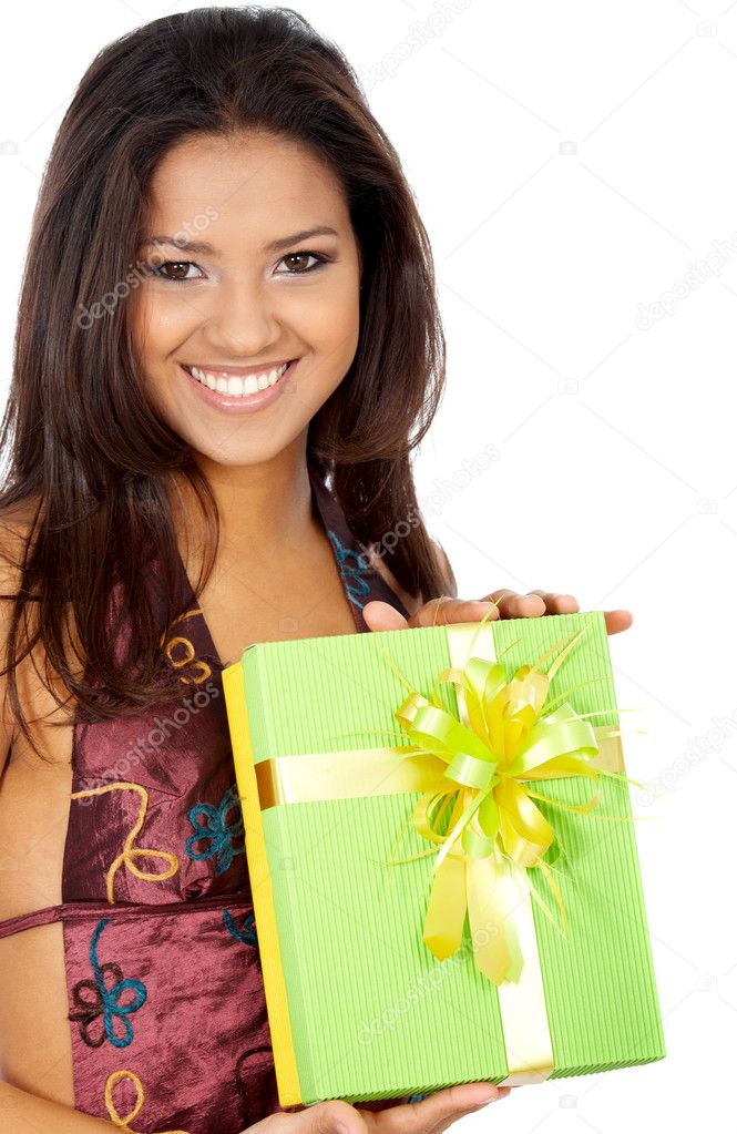 Happy girl portrait smiling and holding a green gift - isolated over a white background — Stock Photo #7598343