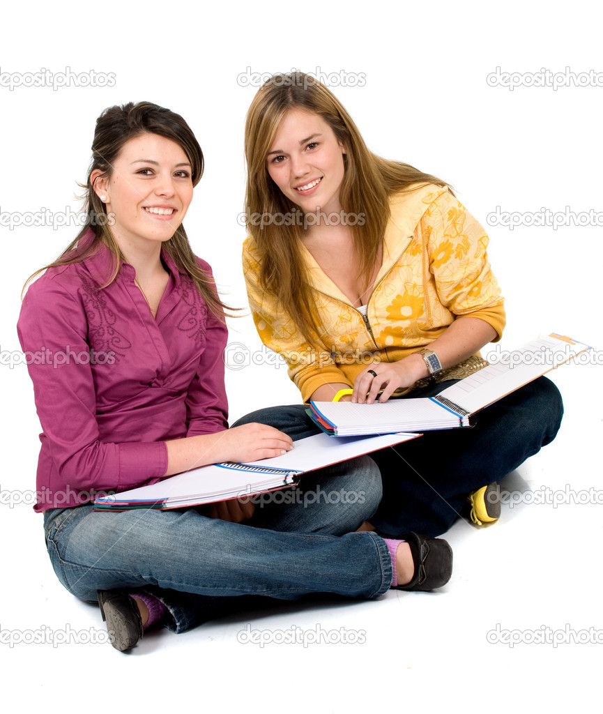 Beautiful female students isolated over a white background — Stock Photo #7598587