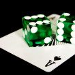 Ace and dices on black — Stock Photo