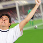 Celebrating a goal - soccer — Stock Photo #7632881
