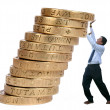 Business growth - pushing coins up - Stock Photo