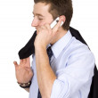 Business man smiling on mobile phone — Foto Stock
