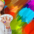 Artist and her painting — Stock Photo