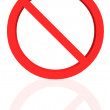 Banned sign with reflection - Stock Photo