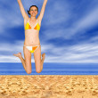 Beach jump of joy - Stock Photo