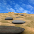 Pebbles on sand 2  (3d render) - Stockfoto