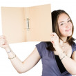 Beautiful woman holding a folder — Stock Photo
