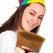 Beautiful artist with her brush — Stock Photo #7633263