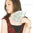 Girl with dollar notes — Stock Photo #7633312